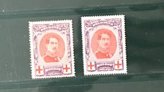 Belgium 1915 – Albert I in large medallion – OBP 134 and 134A