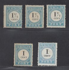 The Netherlands 1887 – Postage due stamps – NVPH P3D type I, II and III + P4D type II and III
