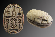 Egyptian steatite scarab with hieroglyphs from Scarab, Ankh, Nefer, Cheper and Upper Egypt - 16 mm.