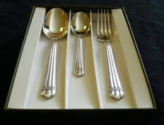 fork, spoon, and dessert spoon, from Christofle, in their original case, France