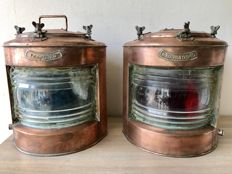 2 large antique copper ship's lamps, port and starboard.