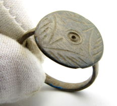 Medieval Bronze Ring with Cross & Sun Symbol Engraved on Bezel - 18 mm