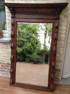 Beautiful large mirror in carved wooden framework with cut rim - Mechelen style - Belgium - 1930s
