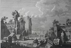 4 prints by various artists, J.Barlow, T.Wallis & other - Views of Ruins of Balbec, China, Africa & more - ca. 1804