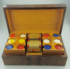 Fine quality Art Deco burr walnut complete Poker Chips/Cards Box