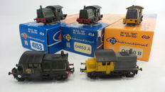 """Roco H0 - 4153A/B - 5 'dummy' diesel shunting locomotives Series 200/300 """"Sik"""" of the NS"""