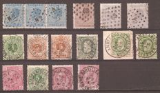 Belgium - Collection of ambulant marks on stamps between OBP 18 to OBP 118
