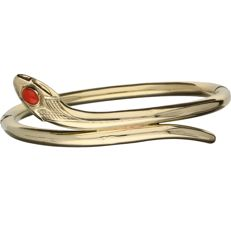 14 kt - Yellow gold bangle in the shape of a snake set with a precious coral - Diameter: 6 cm