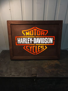Harley Davidson lamp /lightbox - Large 60cm x 44cm x 13cm - handmade build logo made from wood / plexiglass