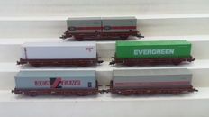 Roco H0 - 4399D/46320 - Five freight carriages of the NS and DB type Kbs with containers