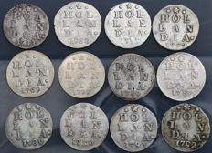 "Holland – Double ""wapenstuivers"" 1733/1791 (12 different coins) – silver"