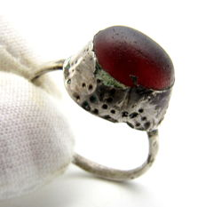Medieval Silver Ring with Red Stone in Bezel - 20mm
