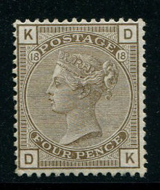 Great Britain 1880/83 – Queen Victoria – 4 pence grey-brown Stanley Gibbons 160 plate 18