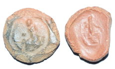 Pair of Roman Ceramic Seals depictin Gods - 17-18 mm (2)