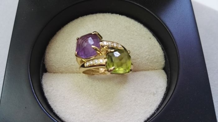 Ring in 18 kt gold with diamonds, amethyst and peridot - Ring size 14 (Spain)