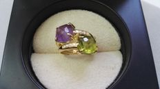 18 kt Gold ring with diamonds, amethyst and peridot – Ring size number 14 (Spain)