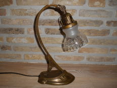 Art Nouveau desk lamp with glass shade