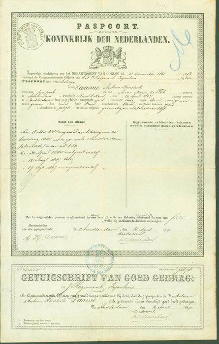 Military passport with a record of distinction and a certificate of ...