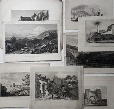 8 prints by various artists, W.Woolnoth, W.B.Cooke, G.Cooke & other - Various foreign views of Nature & Villages - 19th century