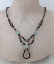 Necklace with Egyptian faience-beads and 3 special large beads - approx. 66 cm.