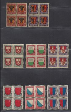 Switzerland 1918/1920 - Pro Juventute - Michel 143/144, 149/151 and 153/155 in blocks of four