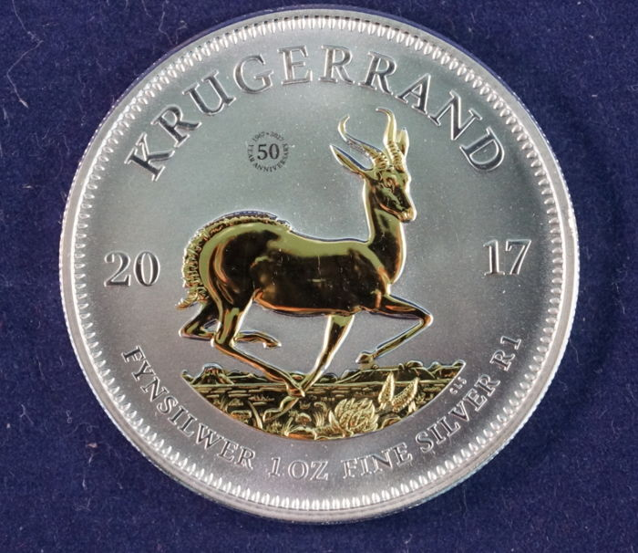 South Africa - Krugerrand 2017 '50 years anniversary issue' gold-plated - 1 oz silver