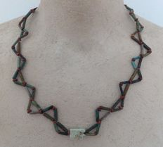Necklace with Egyptian faience beads and Eye of Horus amulet - ca. 52 cm.