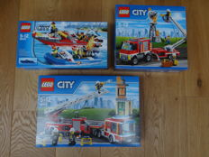 City - 60005 + 60111 + 60112 - Fire Boat, Fire Utility Truck, Fire Engine