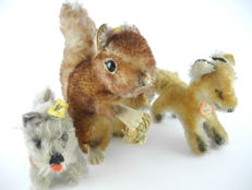 Steiff, Germany - collection with 3 animals: Xorry the fox, Tessie the dog and a squirrel with nut [301]