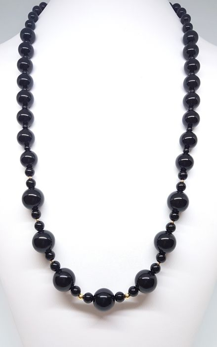 Necklace - onyx and 14 kt gold - 68.5 cm