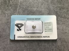 Natural diamond - Fancy grey-yellow 1.00 ct - Untreated - Brilliant cut - I1 - High value - *** LOW RESERVE PRICE***