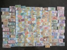 World / Ukraine - Complete uncut sheet of 60 notes of 1 Hryvnia 2014 + Collection of 100 different banknotes