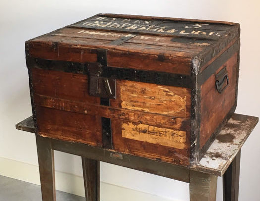 Pine trunk with original labels, Netherlands, begin 20th century.