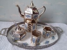 Silver plated tea set with enamel by Pako Rhenen 1960 Netherlands