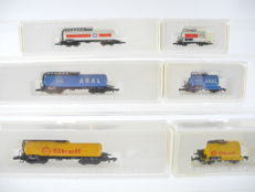 Märklin Z - 8625/-26/-27/-11/-12/-13 - 6-piece tanker train of the DB, Esso, Aral and Shell [249]