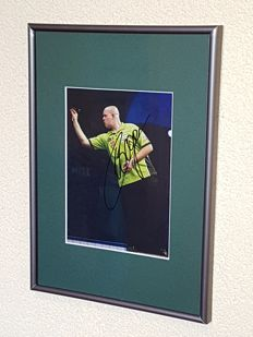Michael van Gerwen - Multiple world champion and best darts player in the world - Original autographed framed photo + COA.