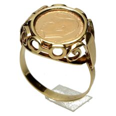 14 kt Vintage ring with gold JFK coin, 1969