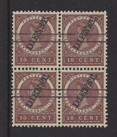 Dutch Indies 1911 - official overprint (with stripes) - NVPH D19a in a block of 4