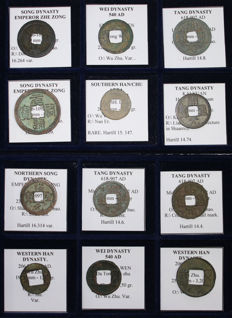 China - Lot of 12 Coins from 206 BC to 1127 AD - (Tang, Song, Han, Wei dynasties, Han Chu Area) - All classified - Unpublished varieties with a Rare Wu Wu of Southern Han\Chu area