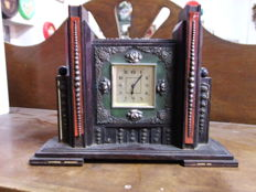 Art Déco Fireplace clock in exotic wood - with silver, bone and bakelite appliqués