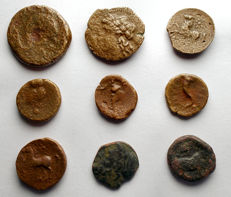 Greek antiquity - Set of 9 specimens ( AE)