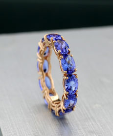Memory ring with 12 tanzanites of 5.00 ct in total 750 rose gold - ring size: 55 --No Reserve!--