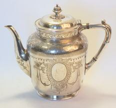 Antique silver plate tea pot with decorative floral engravings, Atkin Brothers, Sheffield Circa.1880