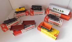 Fleischmann H0 - 5051/5015/5377/5010/1456/5031 - 8 freight wagons of the DB
