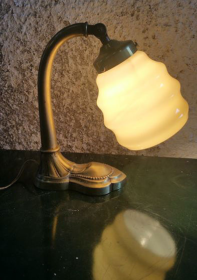 Art Deco lamp with opal vase in yellow, 1930's