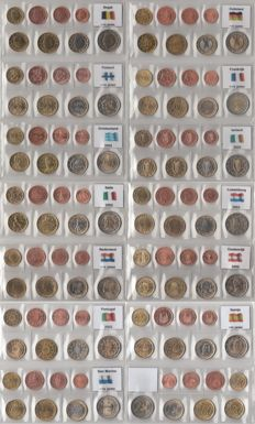 European countries - Series Euro coins complete from the 12 first Euro countries + Greece 2002 with letters 1999-2003