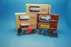 Lilliput H0 - 7 pieces freight carriage train, 4 NS cars, 1 banana car, and 2 truck transporters