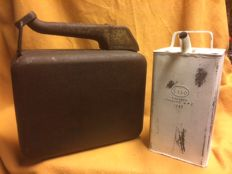 2 original oil cans; 1 x Esso 1949 and 1 x Allboy jerrycan with spout