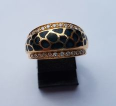 Women's ring 18 kt gold with cloisonné enamel and diamonds, size 56 / 17.75 mm
