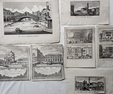 7 topographical prints by various artists - Views of Venice - 18th century